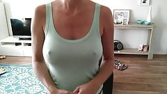 Braless see through big tits bouncing