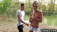 Busty petite fucks young creeper at the lakes