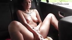 Czech 19yo student fucks her pussy with dildo in Taxi