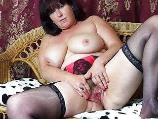 Beautiful mature mom with hairy cunt and big tits