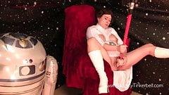 TinkyLeia fucks light sabre evil Daft Vader fisting spunks