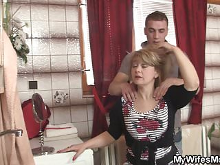 Hot mommy in stockings rides his big dick