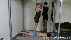 Double Trampling - Two Gorgeous Mistresses on Slave's Back's Thumb