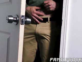 Bear daddy raw fucks his twink stepson and creaming his ass