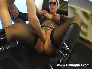She loves hard fisting in her fuck hole
