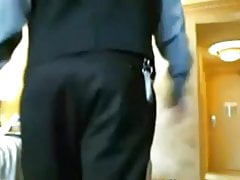 Blonde In a Hotel Room Flashes to Room Service Guy on Cam