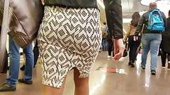 Behind hot ass in skirt