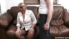 Busty woman in uniform rides his dick