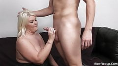 Blonde bbw gives head and doggy-fucked