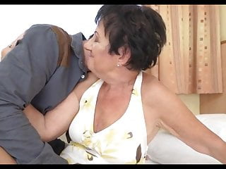 Gran gets fucked, rims young stud and takes a facial