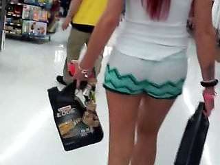 sexy girl tiny shorts see thru thong 2