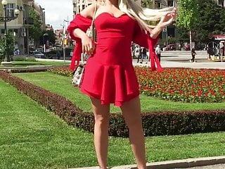 HOT Serbian MILF in VERY short dress posing in high heels