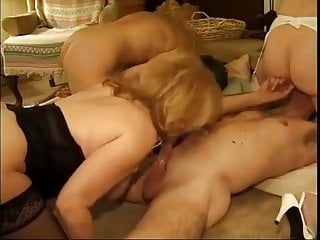 Three Hot GILFs Play With Two Studs