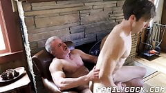 Mature macho puts his handsome stepson onto his raw cock