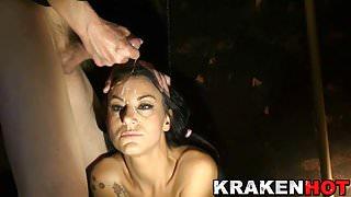 Krakenhot - Facial cumshot with a hot brunette