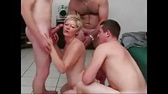 Sandy takes all neighbors cocks at the same time