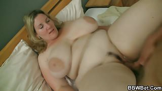 Big booty blonde gives tits-job and pussy fucked