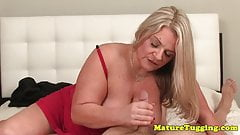 Busty mature handjob MILF milking cock POV