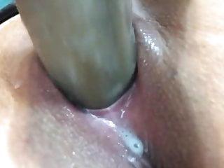 Huge dildo creamy pussy