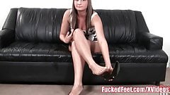 Amateur Teen Gives First Footjob for FuckedFeet!