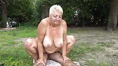 Nudist fucks granny in public