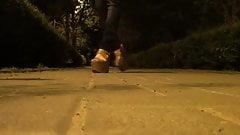 walking in platform sandals