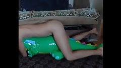 Big inflatable alligator humping cum
