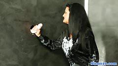 Cum covered euro riding gloryhole dick