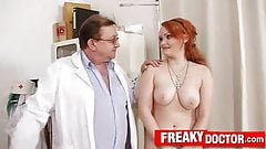 Chubby Euro redhead Samatha tricked by old gyno doctor's Thumb