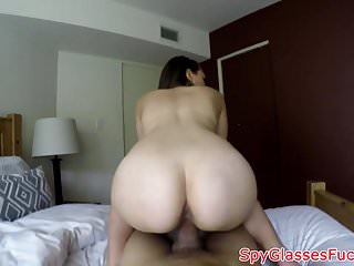 POV fucked beauty gets filmed on spycam