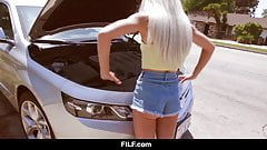 FILF - Petite Elsa Jean's Car Problems Turn Into BBC Hook Up