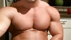 Handsome muscular guy stroking