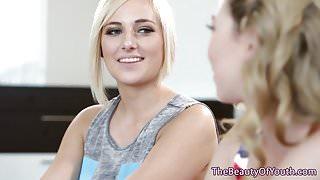 Beautiful Blonde lesbian teens face sitting