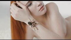 brave nude woman with spider