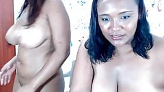 Two busty latina girls masturbating on webcam and squirting