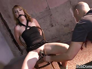 Gagged sub tormented by mean maledom