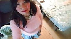 Pink Sweater & Schoolgirl Skirt 2