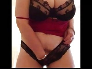 Sexy granny slapping huge tits strips