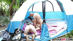 Camping girls sharing a dick