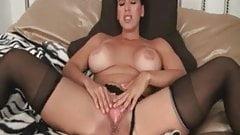 Busty shaved slut in black stockings jerk off instructions
