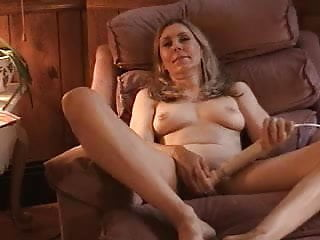 pretty milf masturbating until orgasm on a chair
