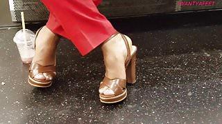 Candid ebony feet in heels pt 2