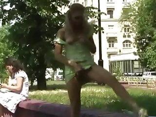 Russian girls posing nude in public