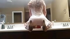 Beautiful Hidden Dildo Ride in Dress on Counter Top