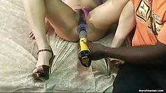 Using a sex toy and fucking her the hard and raw way