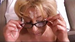 Mature blonde in glasses gets nice load on face