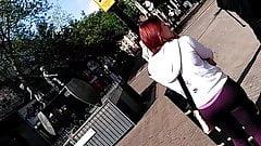 Redhead gym leggings UK candid