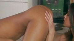 Amazing lesbian sex in the kitchen