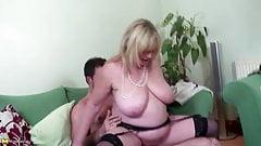Big breasted old mom enjoying young big cock