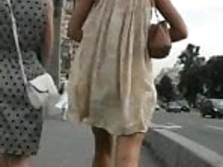 Blonde Windy Upskirt White Thong